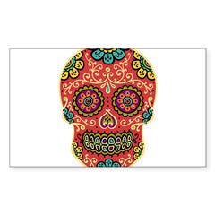 Red Sugar Skull Sticker (Rectangle 10 pk)