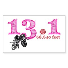 13.1 Half Marathon Pink Sticker (Rectangle 10 pk)