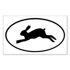 Rabbit Oval Sticker (Rectangle 10 pk)