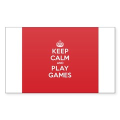 Keep Calm Play Game Sticker (Rectangle 10 pk)