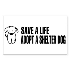Adopt A Dog Sticker (Rectangle 10 pk)