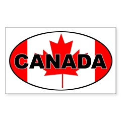 Canadian Flag Oval Sticker (Rectangle 10 pk)