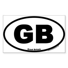 Great Britain GB Euro Oval Sticker (Rectangle 10 pk)