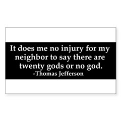 Jefferson religious tolerence Sticker (Rectangle 10 pk)