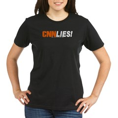 CNN Lies Organic Women's T-Shirt (dark)