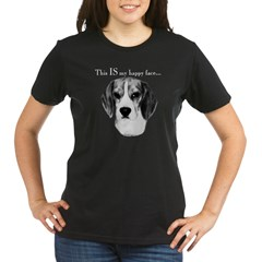 Beagle Happy Face Organic Women's T-Shirt (dark)