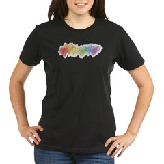 Watercolor Rainbow Hearts Organic Women's T-Shirt (dark)