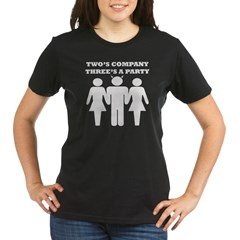 Two's Company, Three's A Party Organic Women's T-Shirt (dark)