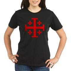 Crusaders Cross (Red) Organic Women's T-Shirt (dark)