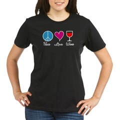 Peace Love Wine Organic Women's T-Shirt (dark)