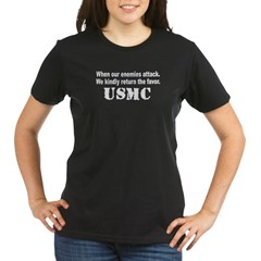 USMC When our enemies attack Organic Women's T-Shirt (dark)