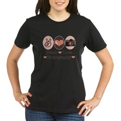 Peace Love Photography Camera Organic Women's T-Shirt (dark)