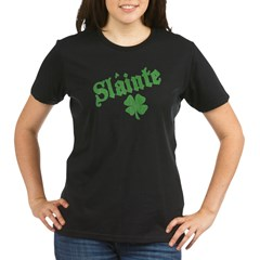 Slainte with Four Leaf Clover Organic Women's T-Shirt (dark)