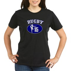 Fullbacks Play RUGBY Organic Women's T-Shirt (dark)