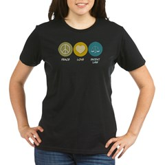 Peace Love Patent Law Organic Women's T-Shirt (dark)