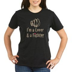 I'm A Lover And A Fighter M Organic Women's T-Shirt (dark)