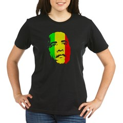 Obama Green Gold Red Face Organic Women's T-Shirt (dark)