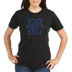 Proud Navy Mom Organic Women's T-Shirt (dark)