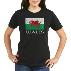 Wales Flag Organic Women's T-Shirt (dark)