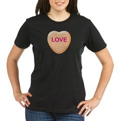 LOVE Orange Candy Heart Organic Women's T-Shirt (dark)
