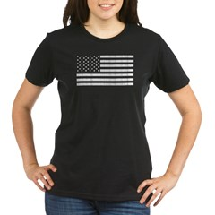 Rugged Amercian Flag Organic Women's T-Shirt (dark)