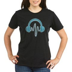 Blue Headphones Maternity Tee (Dark) Organic Women's T-Shirt (dark)