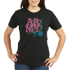 Army Girlfriend - Pink Organic Women's T-Shirt (dark)