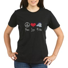 Peace Love Forks Organic Women's T-Shirt (dark)
