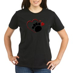 Dog Paw Print with Love Hear Organic Women's T-Shirt (dark)