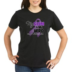 Hero - Puprle Ribbon Organic Women's T-Shirt (dark)