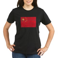 China Flag Organic Women's T-Shirt (dark)