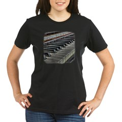Distressed Vintage Piano Organic Women's T-Shirt (dark)