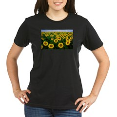 Sunflowers in field Organic Women's T-Shirt (dark)