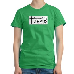 Powered by Jesus with Cross Women's Fitted T-Shirt (dark)
