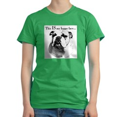 Bulldog Happy Face Women's Fitted T-Shirt (dark)
