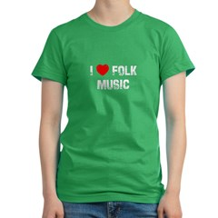 I * Folk Music Women's Fitted T-Shirt (dark)