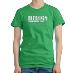 ICE FISHING Women's Fitted T-Shirt (dark)