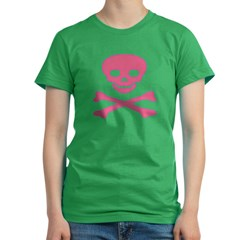 Pink Skull and Crossbones Women's Fitted T-Shirt (dark)