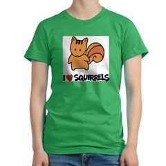I Love Squirrels Women's Fitted T-Shirt (dark)