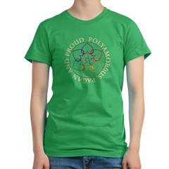 Pagan Poly and Proud circle Women's Fitted T-Shirt (dark)