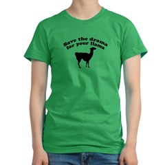 Save the Drama for your Llama Women's Fitted T-Shirt (dark)