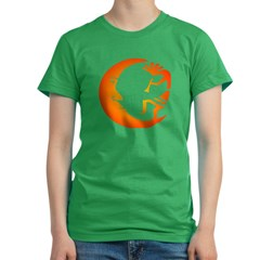Kokopelli & Moon Women's Fitted T-Shirt (dark)