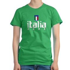 Italia soccer t-shirts 4 Star Italia shir Women's Fitted T-Shirt (dark)