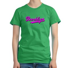 Brooklyn Cursive Pink Women's Fitted T-Shirt (dark)