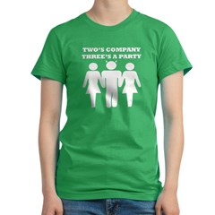 Two's Company, Three's A Party Women's Fitted T-Shirt (dark)