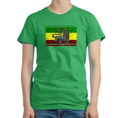 Grunge Rastafarian Flag Women's Fitted T-Shirt (dark)