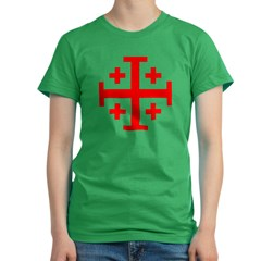 Crusaders Cross (Red) Women's Fitted T-Shirt (dark)