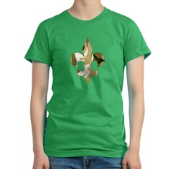 Fleur de lis Camo Women's Fitted T-Shirt (dark)