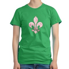 Fleur de lis Eiffel Tower 3 Women's Fitted T-Shirt (dark)