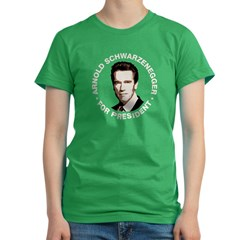 Arnold For Presiden Women's Fitted T-Shirt (dark)